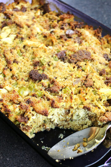 Low Carb Cornbread Dressing by Highfalutin' Low Carb - Keto Cornbread Dressing Recipe