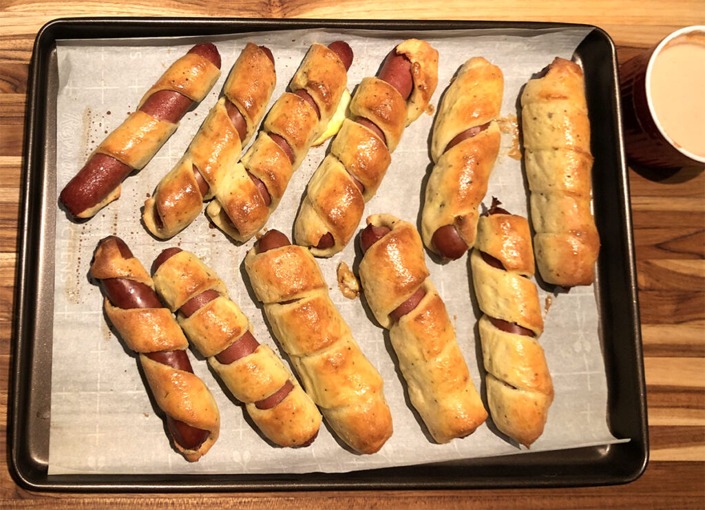 Keto Fathead Dough Pigs In A Blanket fresh out of the oven.