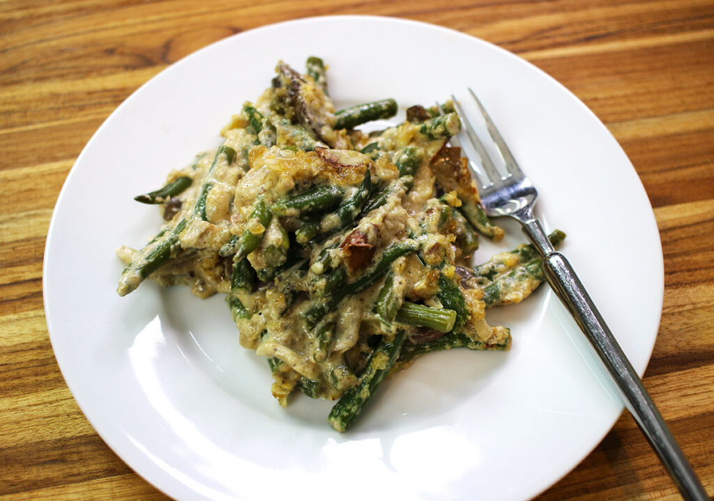 Low Carb Green Bean Casserole by Highfalutin' Low Carb